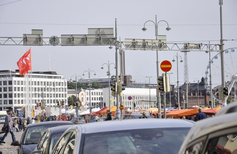 Helsinki, am 23. August 2014 - Quay-Ansicht von Helsinki in Finnland lizenzfreie stockfotos