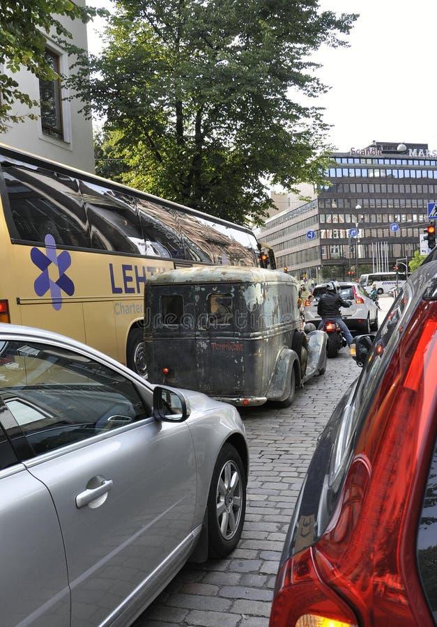 Helsinki,august 23 2014-Vintage Car on street from Helsinki in Finland stock images