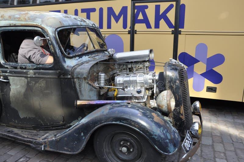 Helsinki,august 23 2014-Vintage Car on street from Helsinki in Finland royalty free stock photo