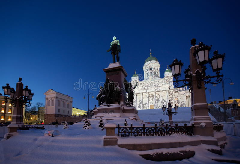 Helsinki cathedral. In holidays illumination at night stock photography