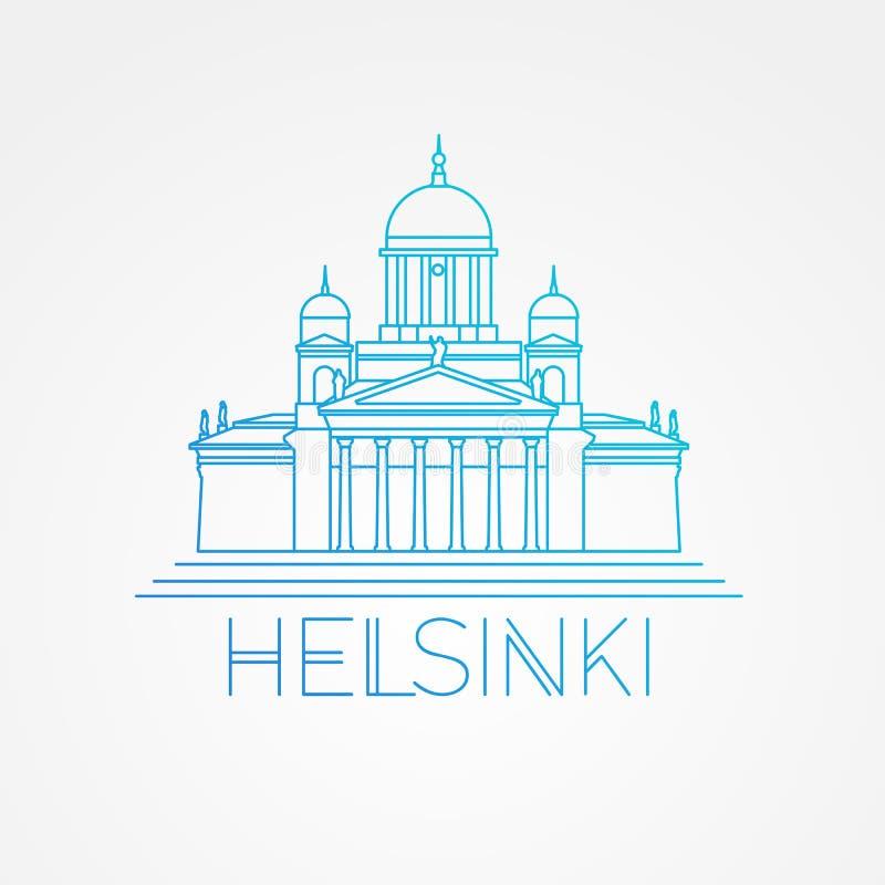 Helsinki cathedral detailed vector illustration. Linear style stock illustration