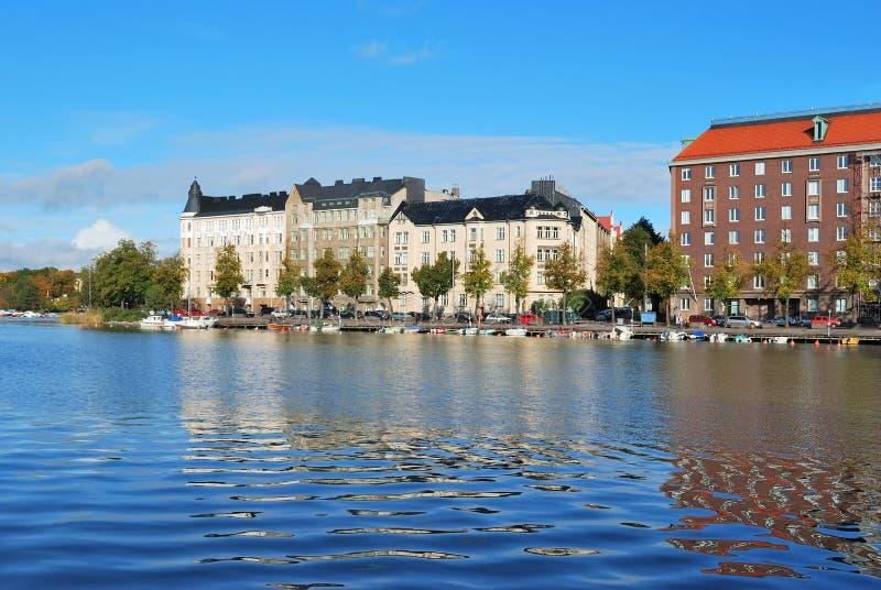 Helsinki. De baai van Kaisaniemi royalty-vrije stock foto