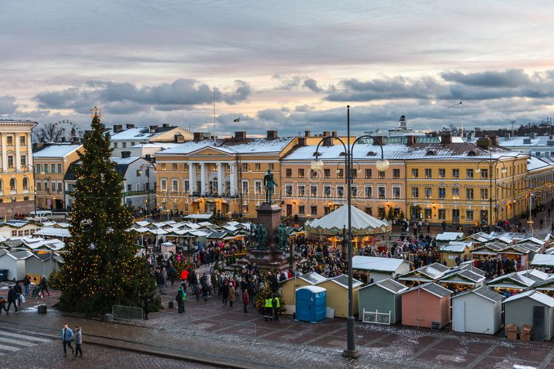 Christmas market at the Senate Square in Helsinki. HELSINKI - DECEMBER 2, 2017: Aerial view of a crowded Christmas market at the Senate Square in Helsinki royalty free stock images