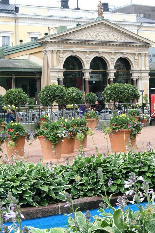 Helsinki Esplanade park and Art Nouveau Cafe stock photo
