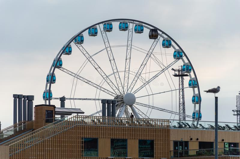 Helsinki Ferris Wheel in the city Harbor stock photos