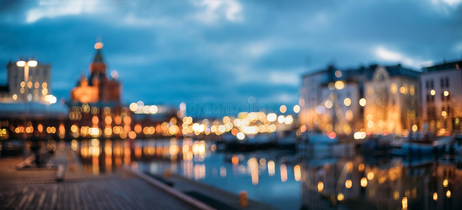 Helsinki, Finland. Abstract Blurred Bokeh Urban Panoramic Background royalty free stock image