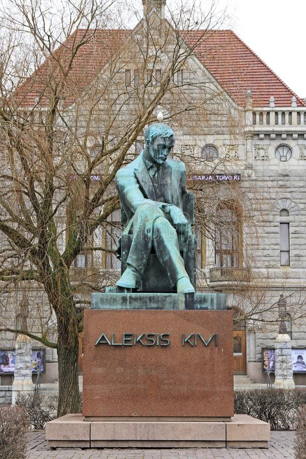 Statue of the Finnish author Aleksis Kivi in Helsinki, Finland stock images