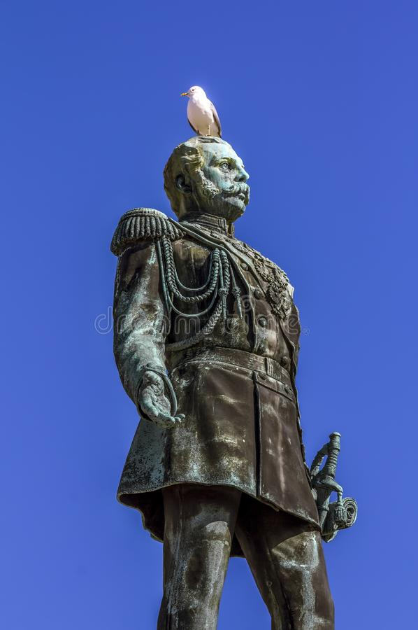 View of the monument to Emperor Alexander II on Senate square in. Helsinki. Finland.April 7, 2018.View of the monument to Emperor Alexander II on Senate square royalty free stock images