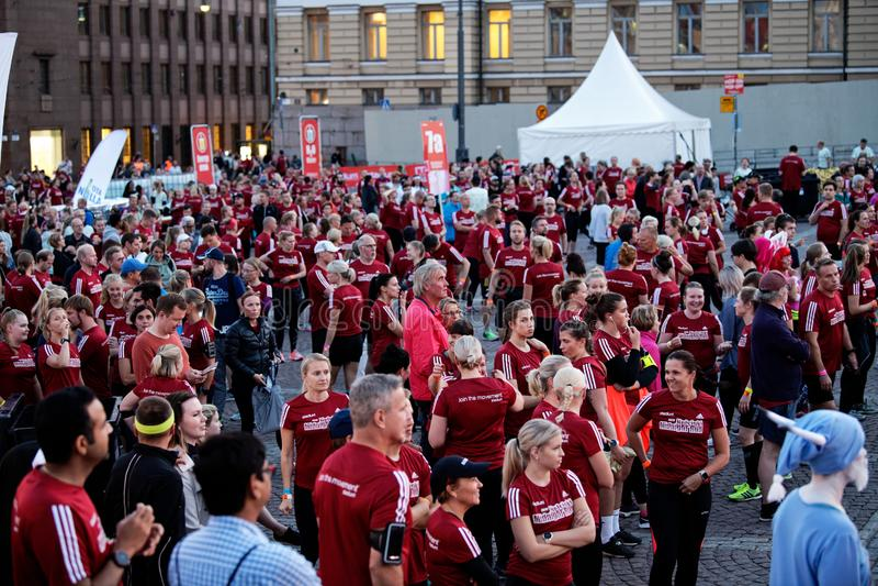 HELSINKI, FINLAND - August 30 2019: Helsinki Midnight Run 2019. City Festival stock images