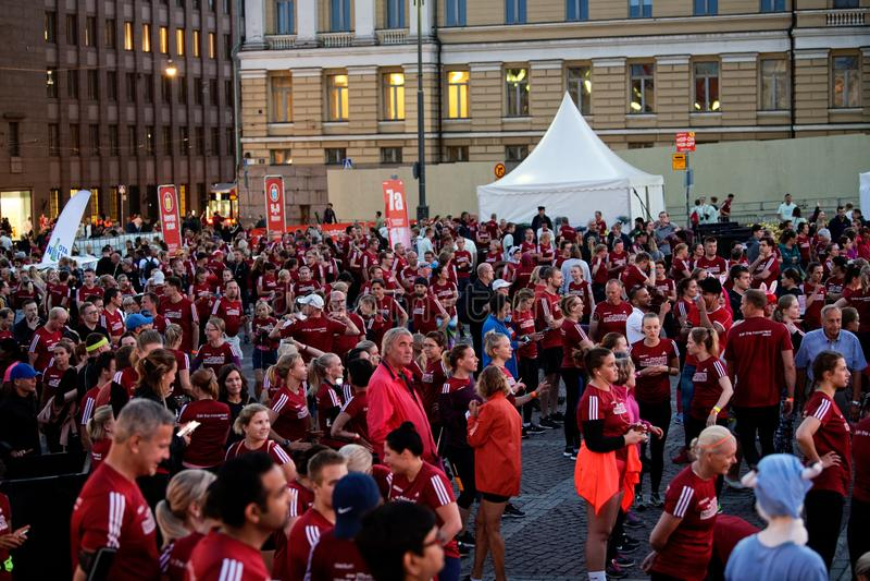 HELSINKI, FINLAND - August 30 2019: Helsinki Midnight Run 2019. City Festival stock photos