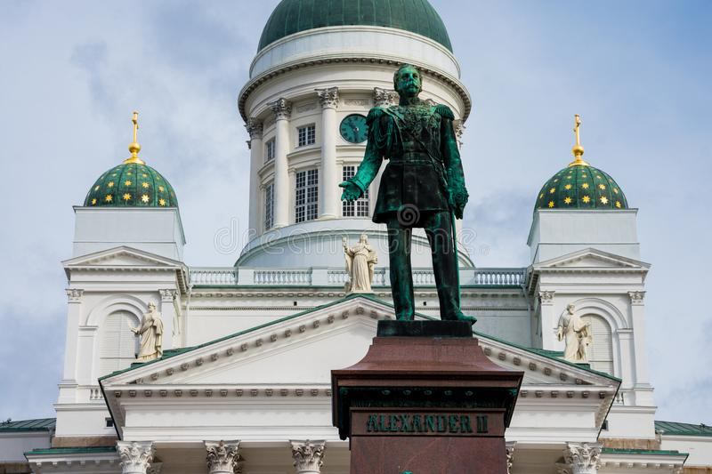 Statue of Alexander II at Senate Square. Helsinki, Finland. August 26, 2017. Statue of Alexander II at Senate Square. Helsinki Cathedral Helsingin tuomiokirkko royalty free stock photos
