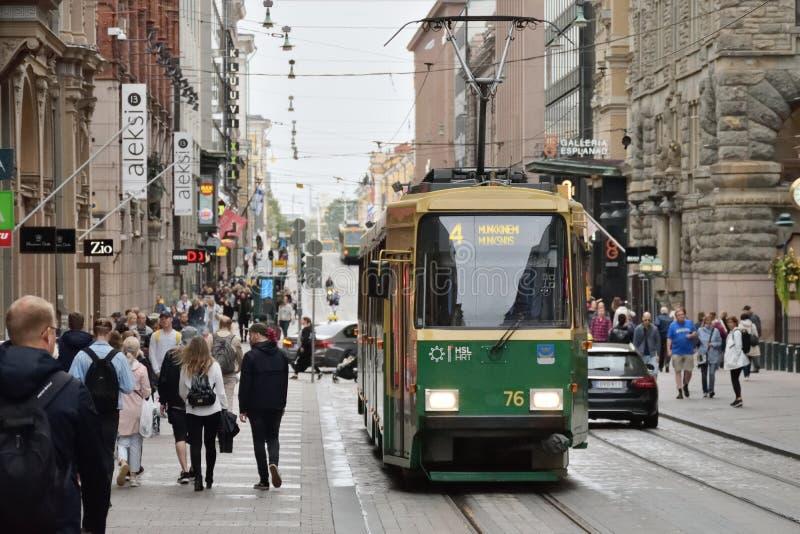 Tram on street of Helsinki, Finland stock photo
