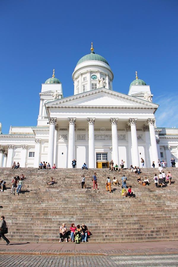 Helsinki, Finland - Augustus 15, 2014: Kathedraal van St Nicholas Cathedral - hoofdkathedraal van de Evangelische Lutheran Kerk royalty-vrije stock foto's