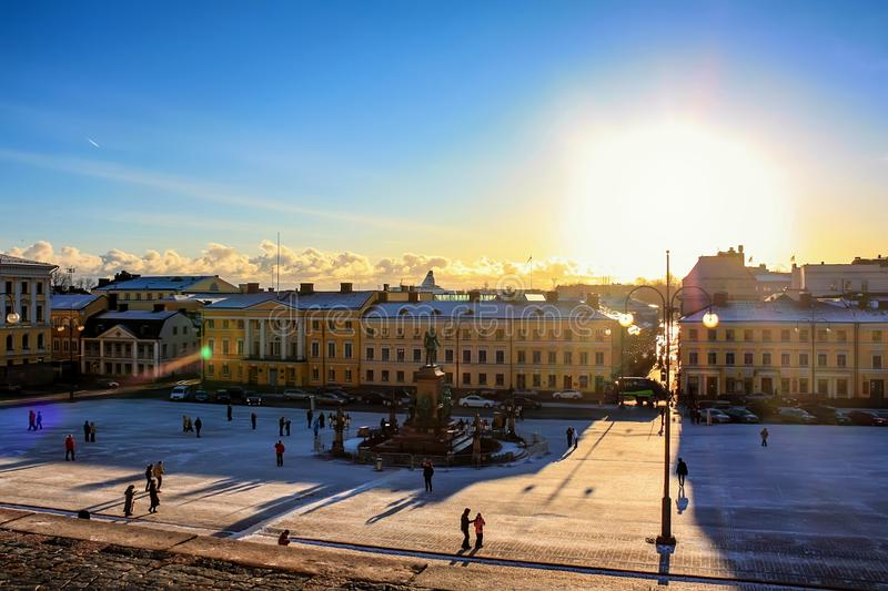 HELSINKI, FINLAND- CIRCA JANUARY 2009: Senate Square. HELSINKI, FINLAND- CIRCA JANUARY 2009: Beautiful view of Senate Square on sunny winter day stock photo