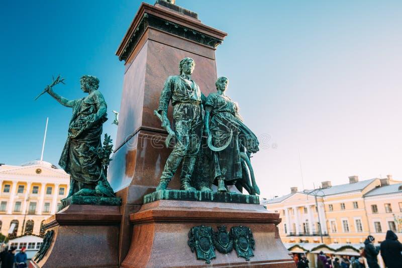 Helsinki, Finland Details van Monument aan Russische Keizer Alexander stock foto