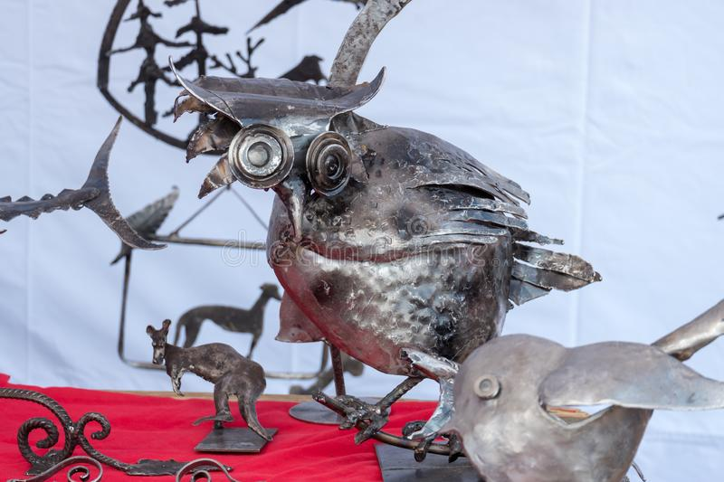 Helsinki / Finland 07.20.2019: hand made owl scrap metal stock photos