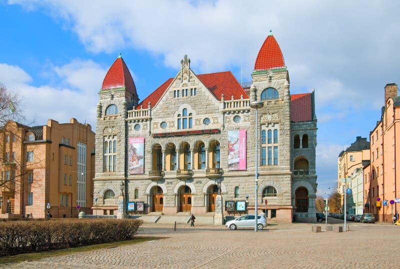 helsinki finland Het Finse Nationale Theatergebouw royalty-vrije stock fotografie