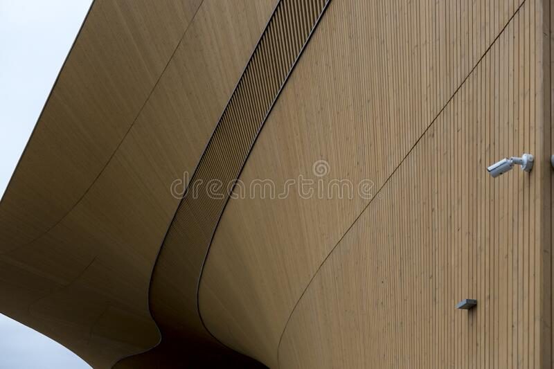 Fragment of the Helsinki Central Library Oodi building. Helsinki, Finland - January 17, 2020: Fragment of the Helsinki Central Library Oodi building stock photos