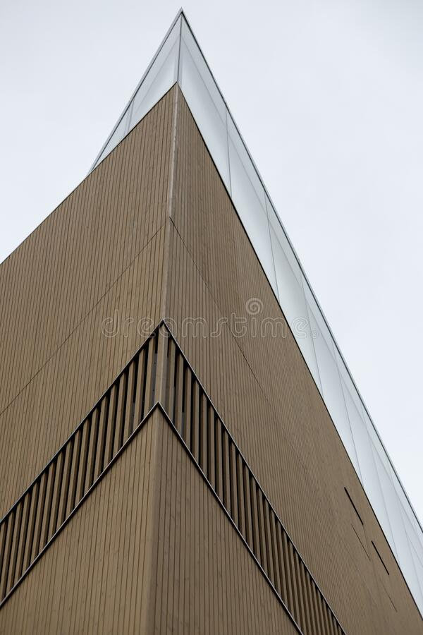 Fragment of the Helsinki Central Library Oodi building. Helsinki, Finland - January 17, 2020: Fragment of the Helsinki Central Library Oodi building stock image