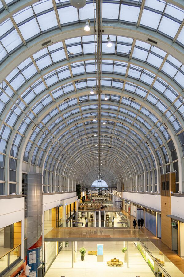 Glass roof dome of Itis formerly Itakeskus shopping center with shops in Helsinki, Finland royalty free stock photo