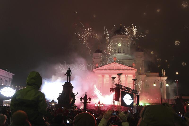 Helsinki, Finland, January 2013. New Year`s fireworks on the main city square. stock image