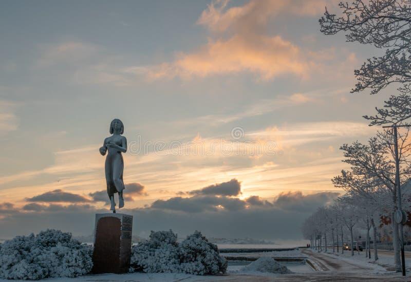 HELSINKI, FINLAND - January 08, 2015: The Rauhanpatsas Statue of Peace in Helsinki, Finland in the winter stock image