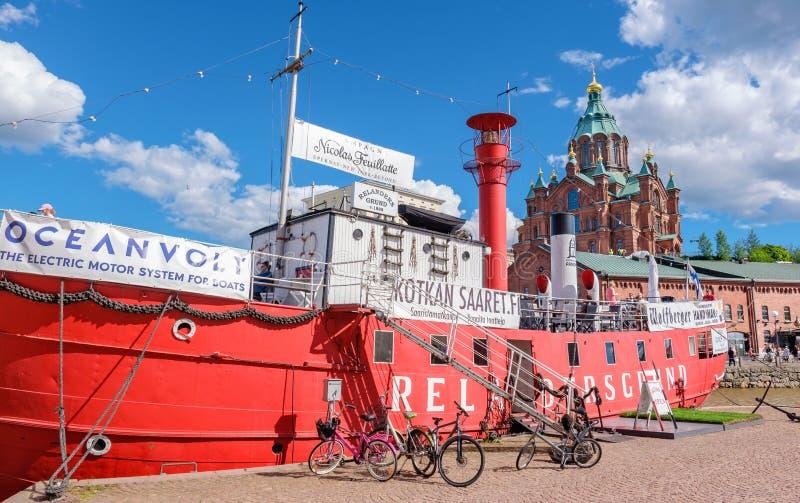 Old lightship Relandersgrund. Helsinki, Finland stock photos