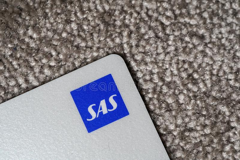 Helsinki, Finland - March 25, 2019: Close up shot of SAS bonus card and especially the logo royalty free stock image