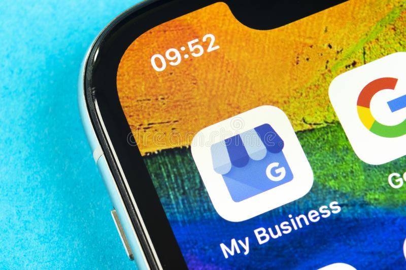 Google My Business application icon on Apple iPhone X screen close-up. Google My Business icon. Google My business application. So stock photos