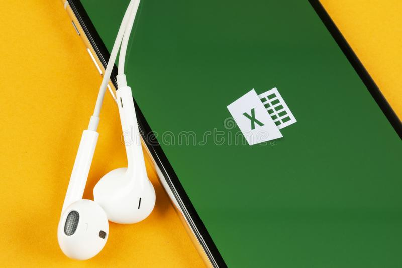 Microsoft Excel application icon on Apple iPhone X screen close-up. Microsoft office Excel app icon. Microsoft office on mobile ph. Helsinki, Finland, May 4 royalty free stock images