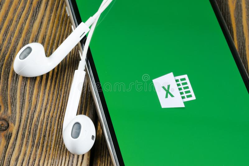 Microsoft Excel application icon on Apple iPhone X screen close-up. Microsoft office Excel app icon. Microsoft office on mobile ph. Helsinki, Finland, May 4 royalty free stock photography