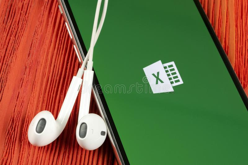 Microsoft Excel application icon on Apple iPhone X screen close-up. Microsoft office Excel app icon. Microsoft office on mobile ph. Helsinki, Finland, May 4 royalty free stock photos