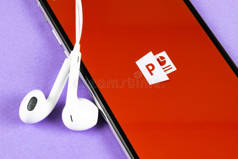 Microsoft office Powerpoint application icon on Apple iPhone X screen close-up. PowerPoint app icon. Microsoft Power Point applica. Helsinki, Finland, May 4 stock image