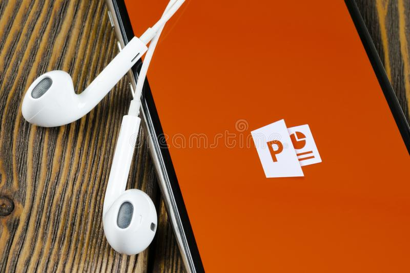Microsoft office Powerpoint application icon on Apple iPhone X screen close-up. PowerPoint app icon. Microsoft Power Point applica. Helsinki, Finland, May 4 royalty free stock images
