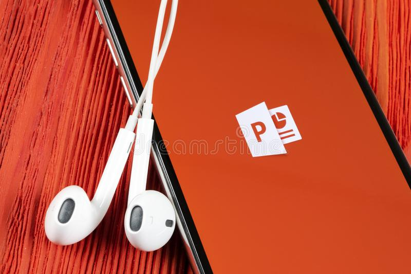 Microsoft office Powerpoint application icon on Apple iPhone X screen close-up. PowerPoint app icon. Microsoft Power Point applica. Helsinki, Finland, May 4 stock photos
