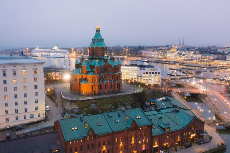 HELSINKI, FINLAND - NOVEMBER 2019: aerial view, Uspenski Cathedral, Helsinki Finland royalty free stock photos