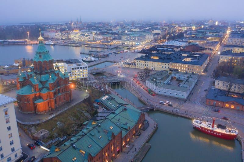 HELSINKI, FINLAND - NOVEMBER 2019: Aerial view of Uspenski Cathedral, Helsinki Finland. Tours in Helsinki. The European Union stock photography