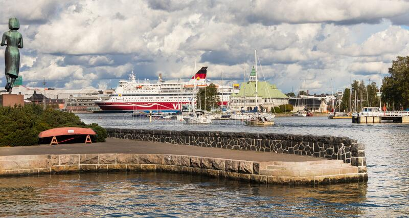 Helsinki/Finland-09-16-2018: Panorama Helsinki, south harbour and ferry boat in Helsinki, Finland. Helsinki/Finland-09-16-2018: Panorama Helsinki south harbour royalty free stock photography