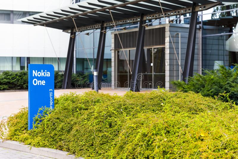 Nokia brand name on a blue sign on September 16, 2017 royalty free stock photography