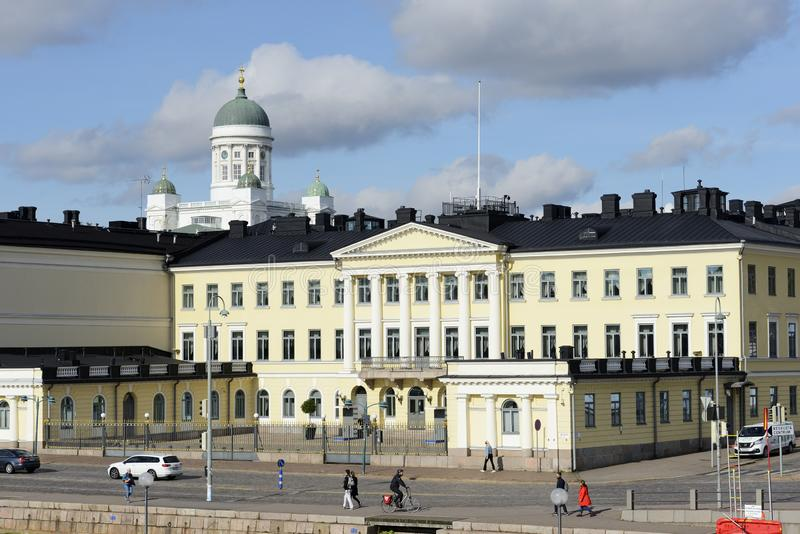 Helsinki, Finland, September 26, 2019: view of the Presidential Palace and Cathedral stock image