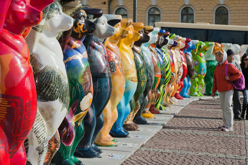 HELSINKI, FINLAND - United Buddy Bears exhibition stock image