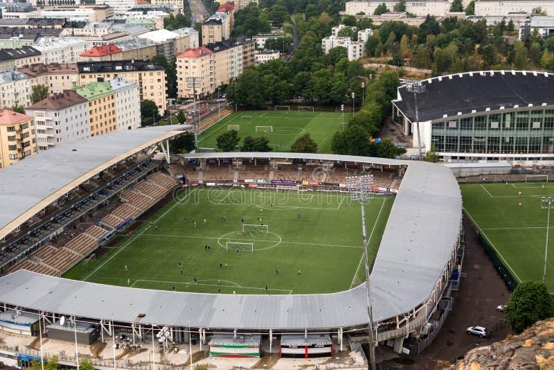HELSINKI FINLANDIA augusta, 7, 2014 Partita di calcio di qualificazione della lega di europa fotografie stock