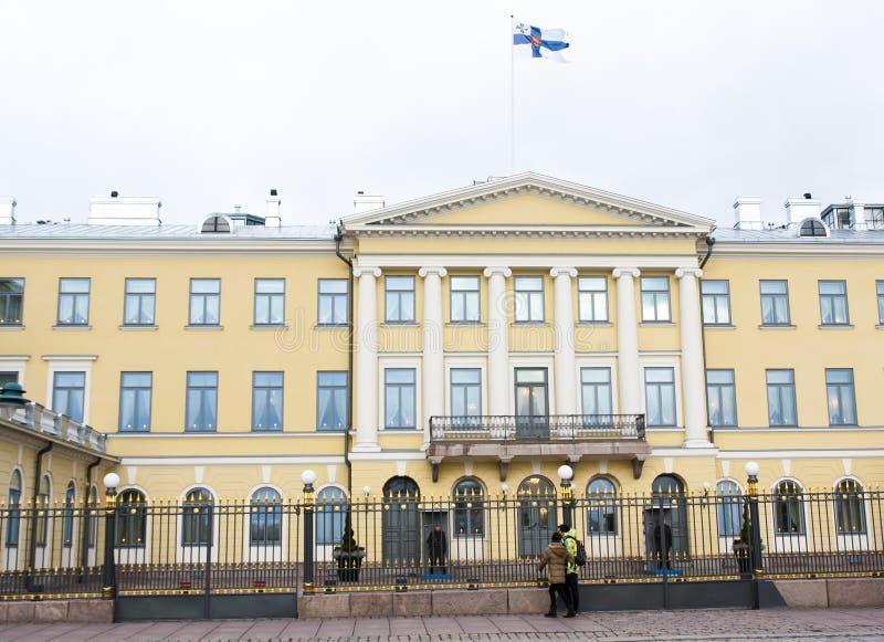 Helsinki, Finlandia - 21 de diciembre de 2015: Edificio del palacio presidencial foto de archivo libre de regalías