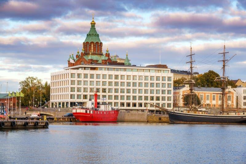 Helsinki harbor at evening stock photo