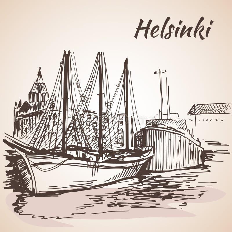 Helsinki - haven, waterkant Geïsoleerdj op witte achtergrond stock illustratie