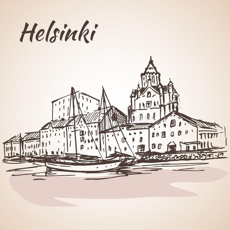 Helsinki - haven, waterkant schets vector illustratie