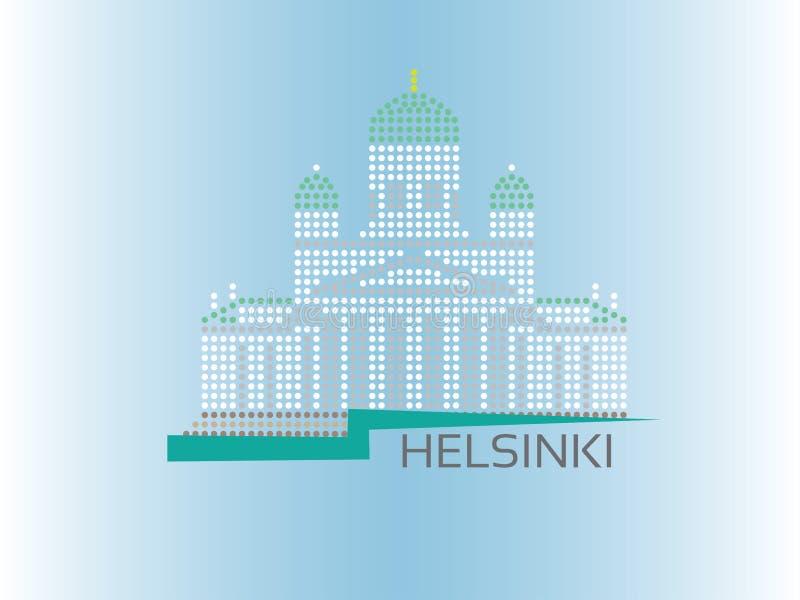 Helsinki katedra kropkująca stylowa ilustracja royalty ilustracja