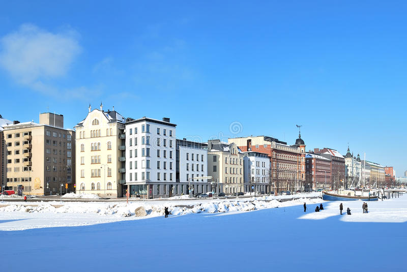 Helsinki. North Quay in winter royalty free stock photography