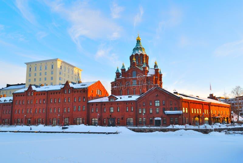 Helsinki. Péninsule de Katajanokka au coucher du soleil photos libres de droits