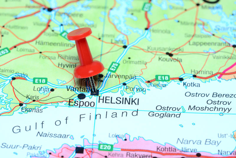 Helsinki Pinned On A Map Of Europe Stock Image Image of push